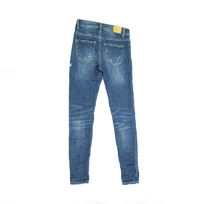My Will Jeans Blue High Elastic Tight-Fitting Embroidered Jeans Cotton 679 Made In China