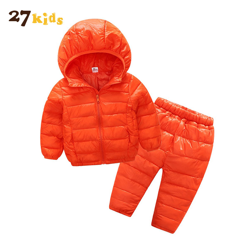 27Kids Baby Set Winter warm Girl Boy Coat Thick Jacket+Pants New Costume Outerwear Down Jacket Clothing Sets Meisjes Kleding girl kids fashion pu leather jacket coat 2018 new winter autumn thick rabbit s hair hooded big baby boy girl motorcycle outwear