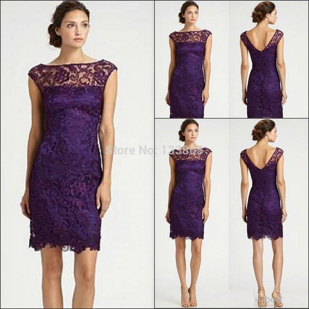 2015 backless lace mother of the bride dresses purple for Purple dresses for weddings knee length