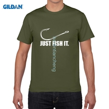 GILDAN DIY style mens t shirts Fashion Men Just Fish It Funny Angler Hook Bait&Tackle Preshrunk Cotton T-Shirt