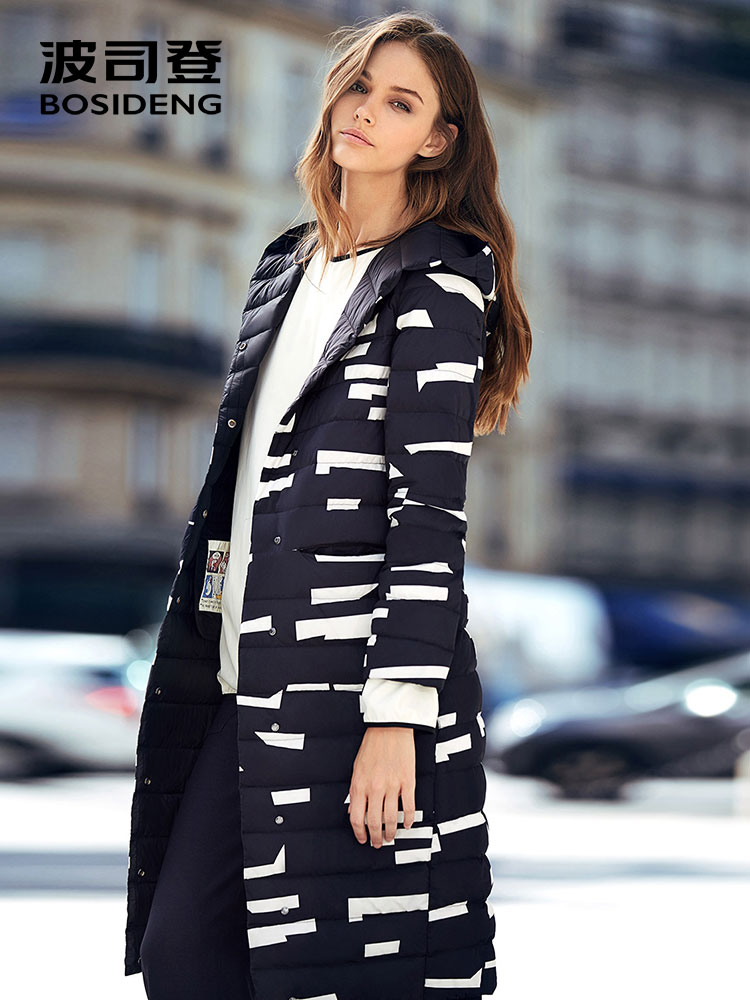 BOSIDENG white goose down coat 90% WHITE GOOSE down jacket X-LONG goose outwear hooded high street high quality B70133022
