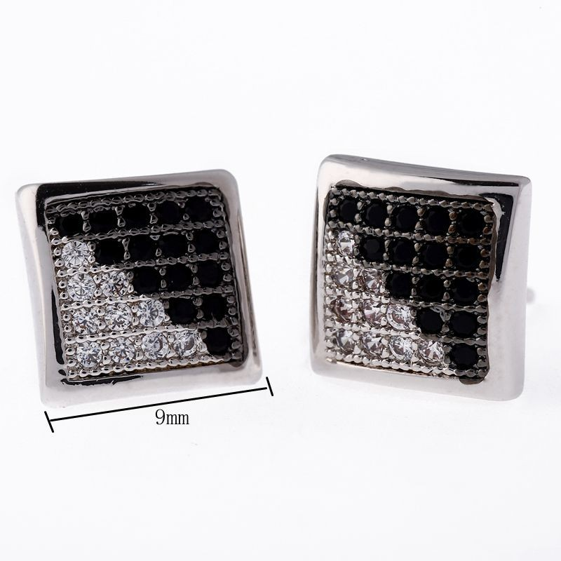 Mens Hip Hop Kite Punk Backs Earrings Studs Bling Cz Iced Out Crystal Square Stud Earring In From Jewelry Accessories On