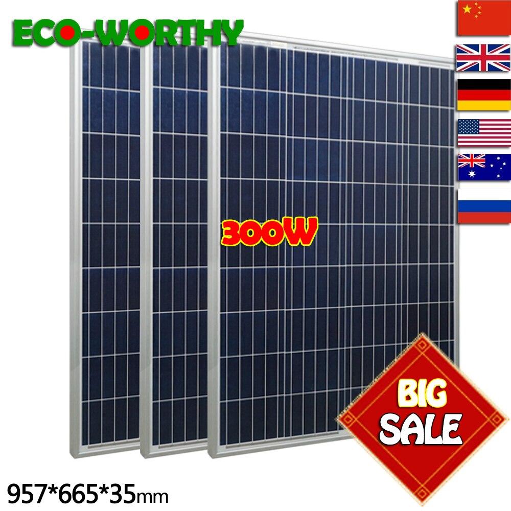 300 W kit panneau solaire: 3x100 W panneau solaire en poly Avancée RV chargeur solaire pour 12 V batterie Hors Réseau Système Solaire pour la maison