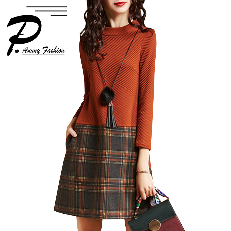 Plus Size Moda O-pescoço Xadrez Costura das Mulheres Atingiu a Cintura Alta Senhoras Outono Inverno Gola Alta Manga Longa A-Line Vestido