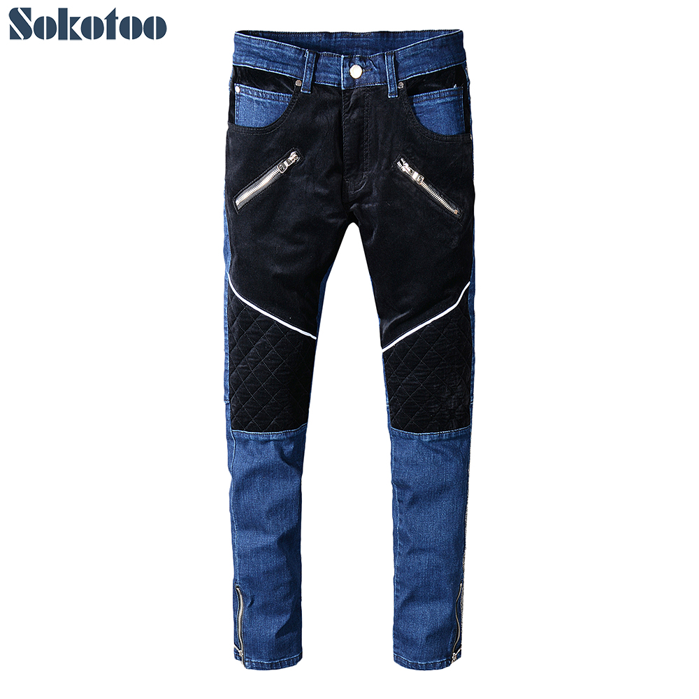 Sokotoo Men's velour patchwork bottom zipper   jeans   Slim fit patches blue stretch denim pants