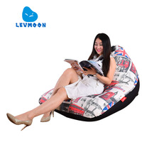 LEVMOON Beanbag Sofa Chair England Print Seat Zac Comfort Bean Bag Bed Cover Without Filler Cotton