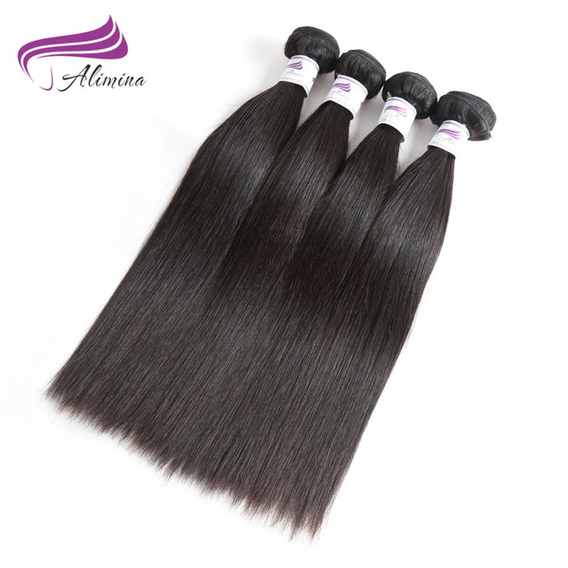 Alimina Human Hair Extensions Brazilian Straight Hair 4 Bundles Deal