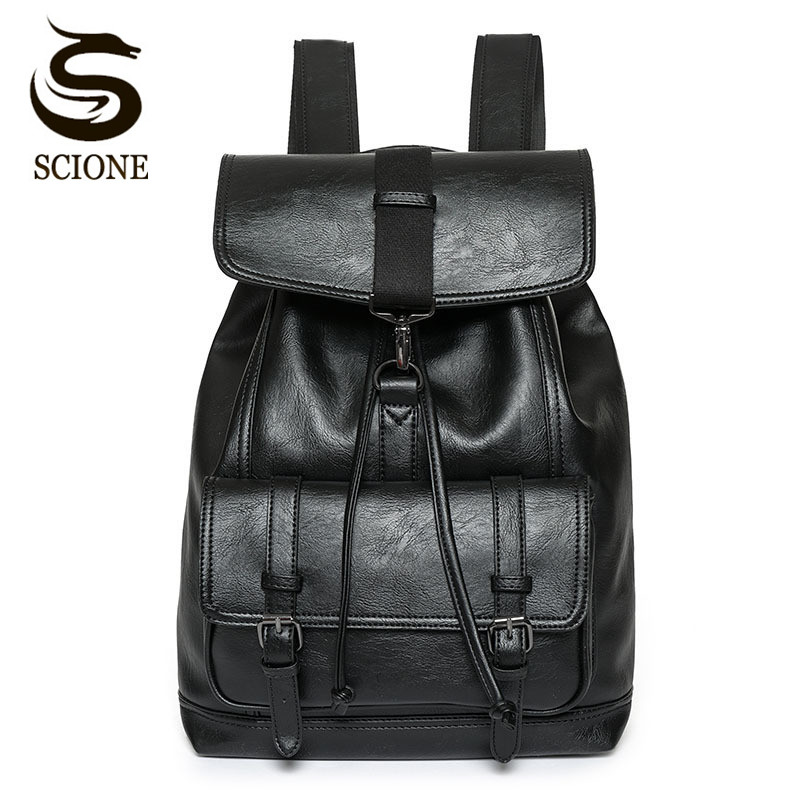 Scione Luxury Men Leather Backpack High Quality Drawstring PU Backpacks Causal Travel Rucksack Laptop Bag Pack Male School Bags