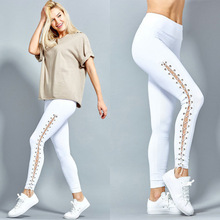 American Style Sexy Slim Eyelet Side Strap Elastic Hot Hip Quick Dry Gym Dancing Workout Leggings Sweatpants
