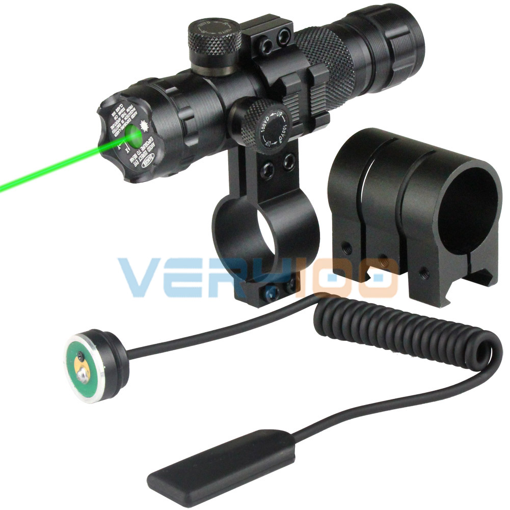 Tactical 532nm Green Laser Sight For Airsoft 20mm Picatinny Weaver Rail w/ Pressure Switch & 2 Mounts