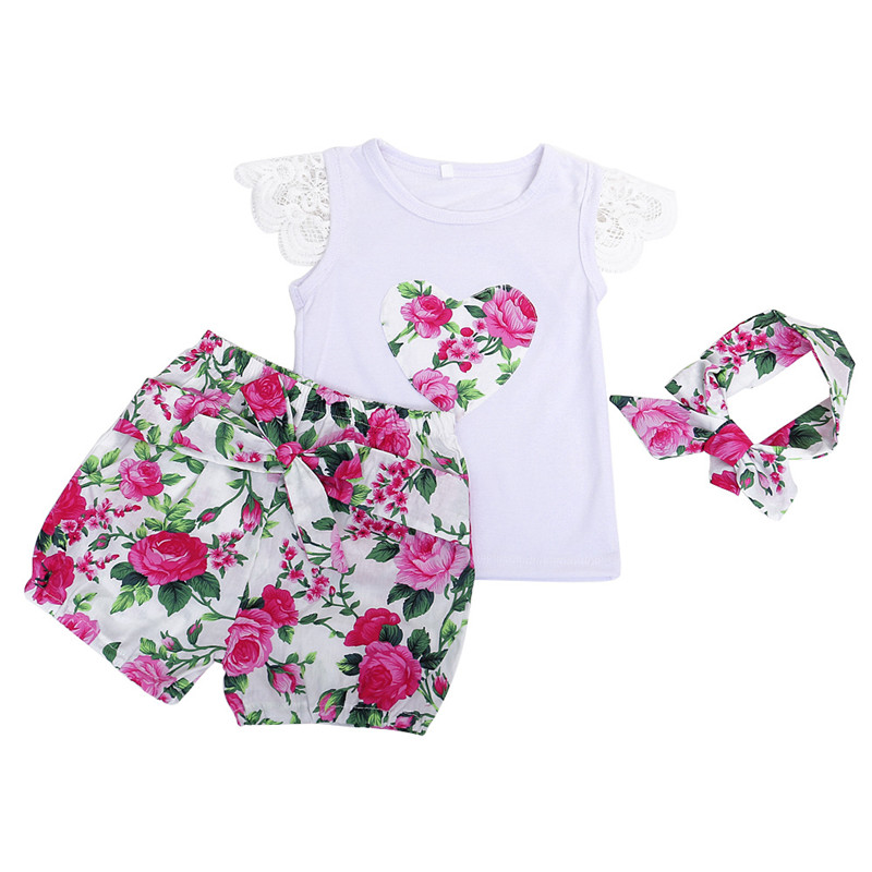 Little Girls Boutique Floral Summer Baby Girls Clothing Set Lace Ruffle Sleeve Girls Tees Short Pants Headband Toddler Outfit 3T us stock floral newborn baby girls lace romper pants headband outfit set clothes infant toddler girl brief clothing set playsuit