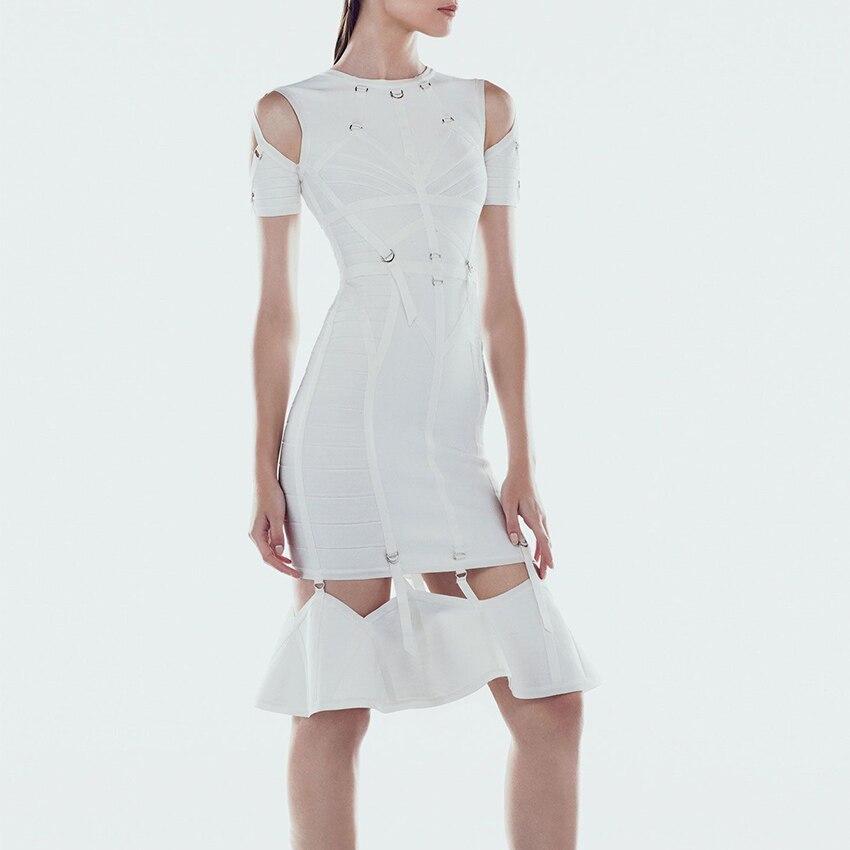 2019 mode Nova blanc Bandage robe femmes partie élégante découpe nuit froid épaule métal embellissement col rond genou haut