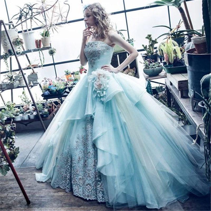 Strapless 2017 New Sexy Spring Sky Blue Beaded Lace Tulle