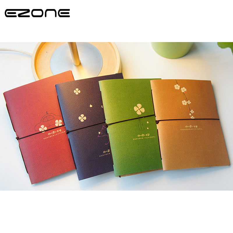EZONE Lucky Clover Lashing Notebook Retro Notepad Daily Memos Note Book Memo Pad School Supplies Stationery Papelaria Escolar