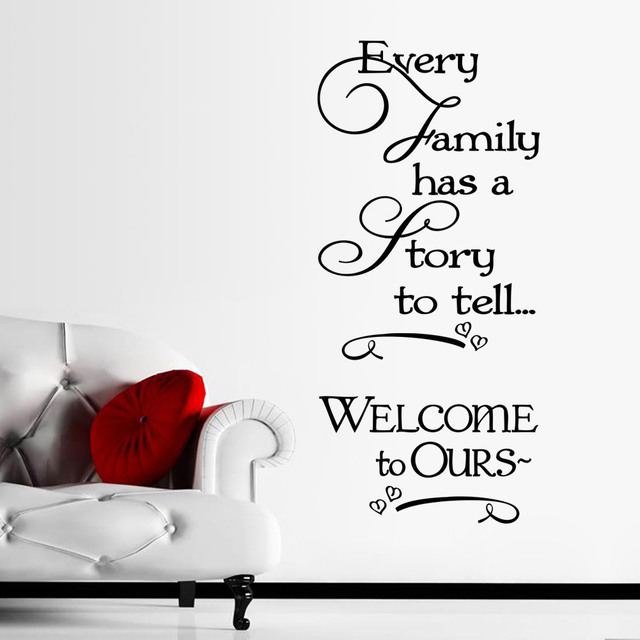 US $10 13  every family has a story to tell inspirational quotes wall  stickers for bedroom home decoration removable decals diy vinyl art-in Wall