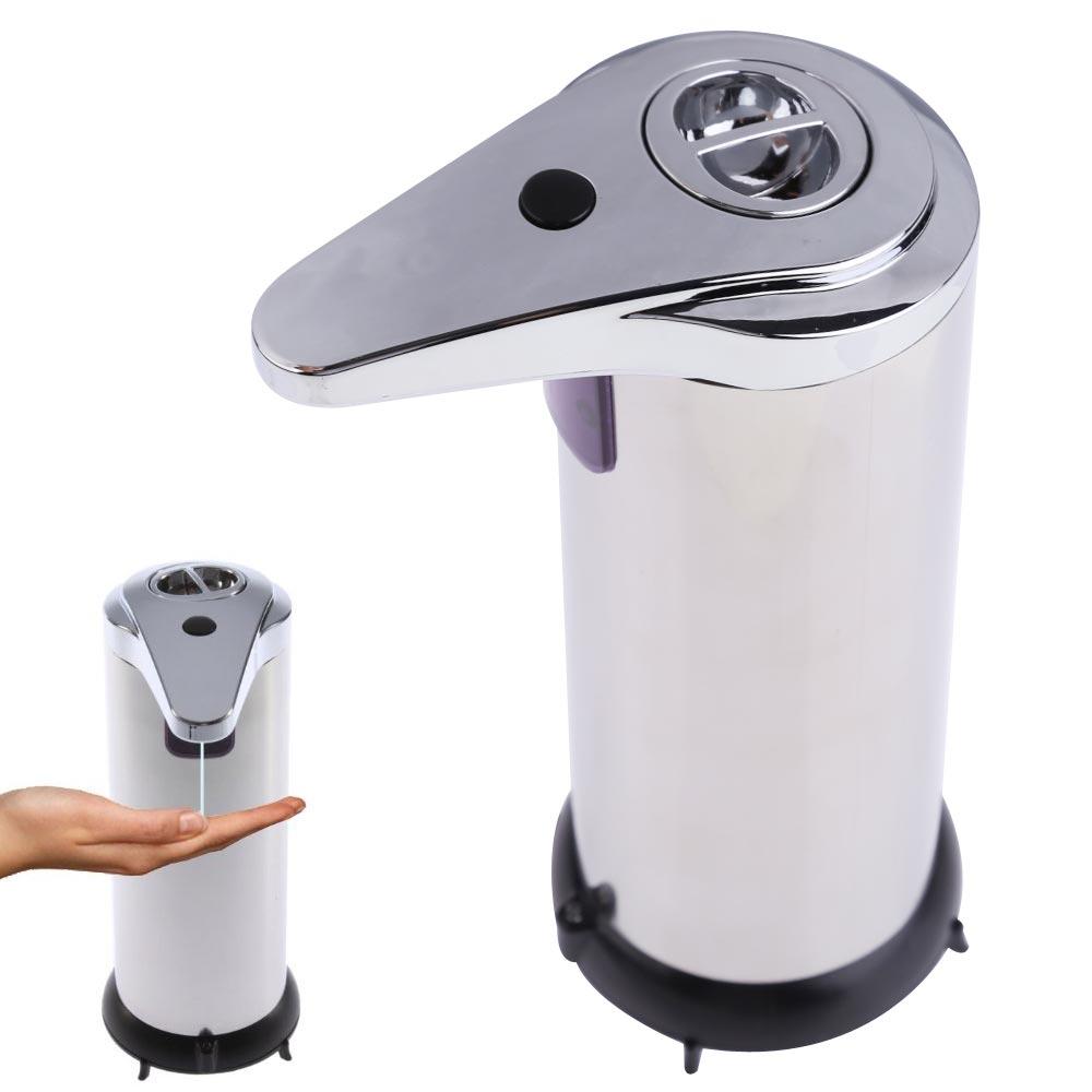 250ml Automatic Soap Dispenser Stainless Steel Smart Sensor Infrared Handfree Sanitizer Soap Dispenser for Bathroom Kitchen