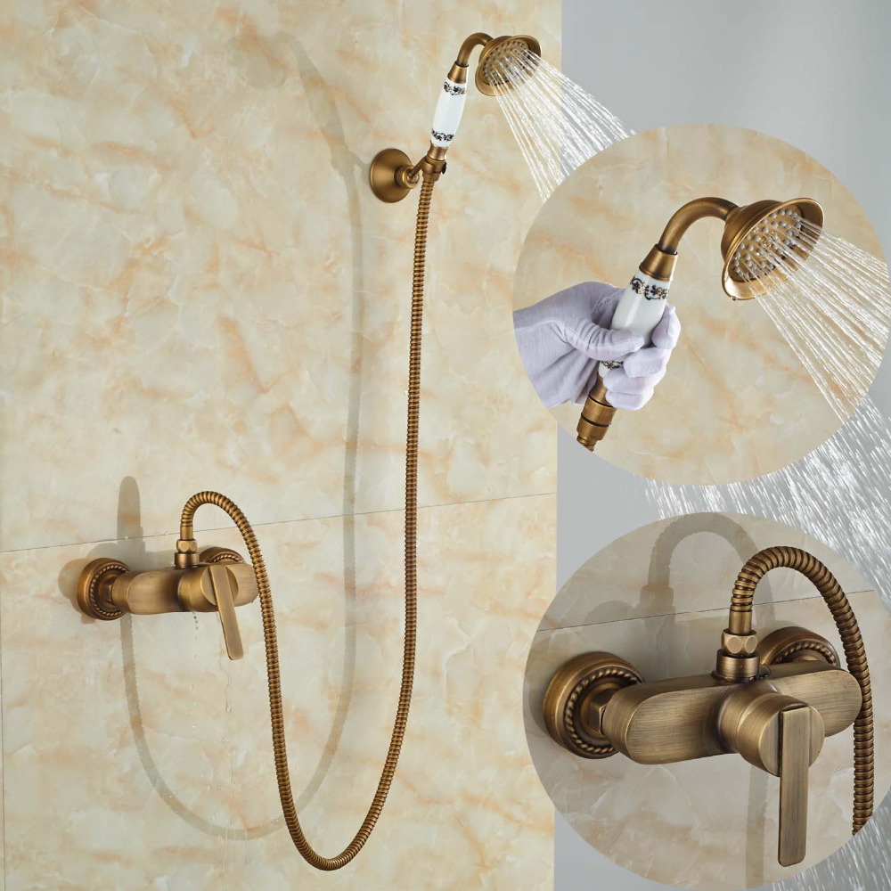 Wall mounted Single Handle Bath Shower Faucet With Ceramic Handshower Antique Brass Finish wall mounted single handle bath shower faucet with ceramic handshower antique brass finish