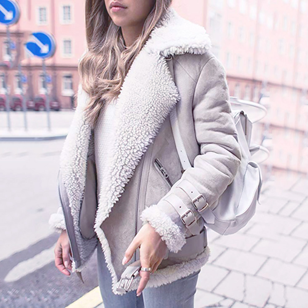 Faux Lambswool   Suede   Coats Women 2018 Autumn Winter Faux   Leather   Zipper Biker Jacket Female Casual Motorcycle Lamb Fur Warm Coat