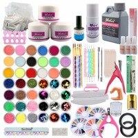 Acrylic Powder Liquid Nail Set Glitter Rhinstone Strip Pen Brush 500 Natural Tips Cuticle Oil Nail File Brush Nail Art Tools Kit