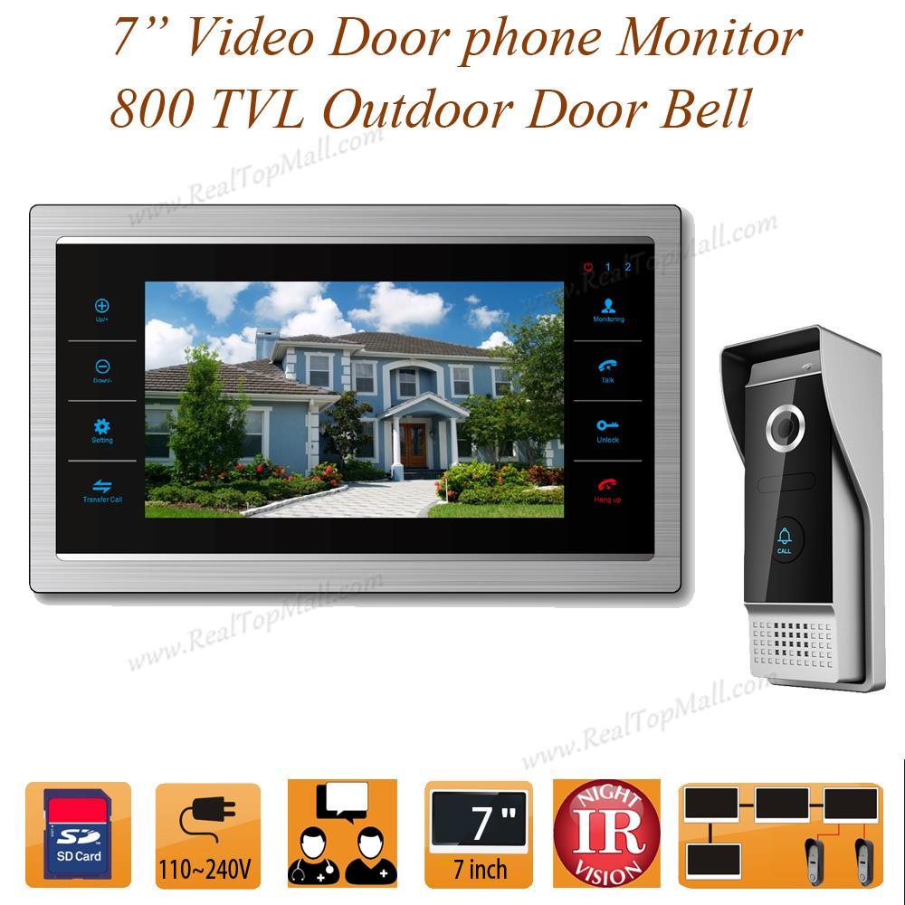 7 inch Video Door Intercom Door Phone Recording Doorbell Camera Intercom HD Additional Monitor Support 4 to 1