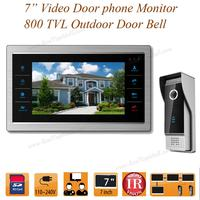7 inch Video Door Intercom Door Phone Recording Doorbell Camera Intercom HD Additional Monitor Support 4 to 1