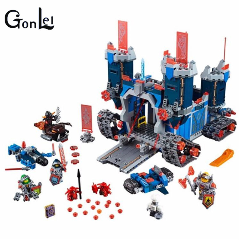 (GonLeI) Lepin 14006 Nexoe 1115Pcs The Fortrex Nexus Knights Building Blocks Bricks kit Toys Set Castle Weapon Clay Aaron Fox Ax in stock lepin 14036 785pcs nexoe the stone colossus of ultimate nexus destruction knights building blocks bricks toys for kids