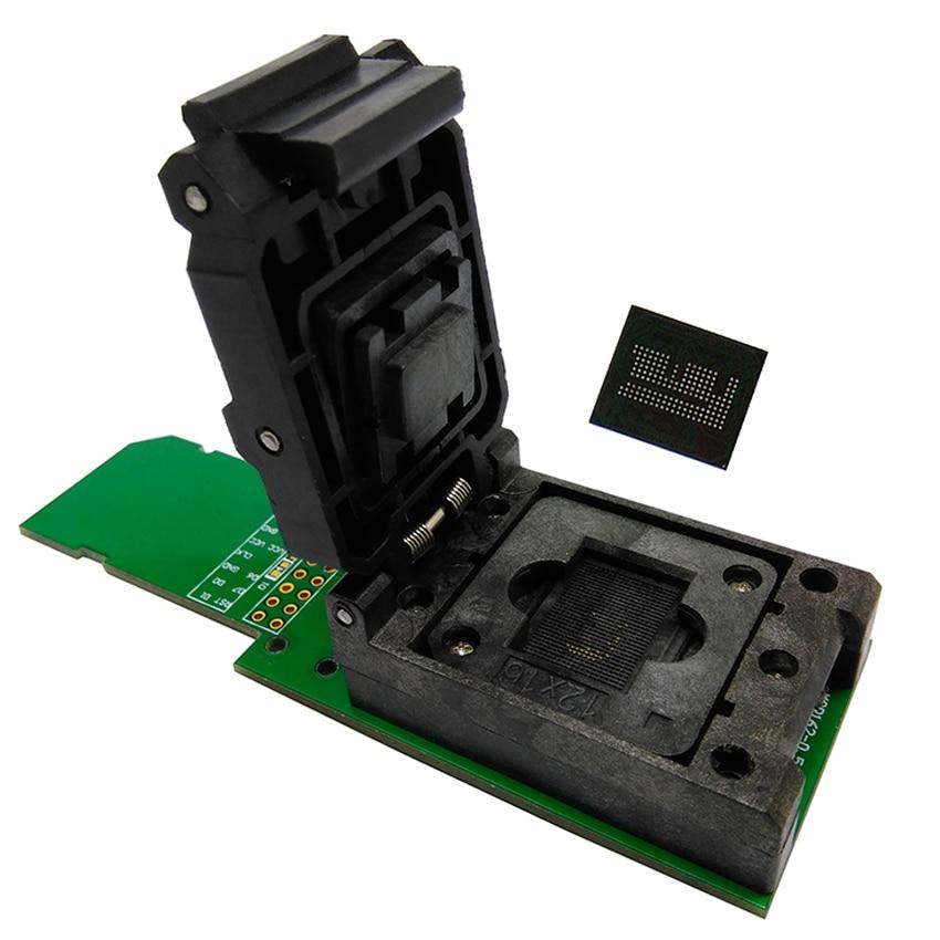 цена на eMCP162 eMCP162 clamshell Test socket BGA162 BGA186 data recovery programer adapter with 12*16 mm for emcp phone repair tools