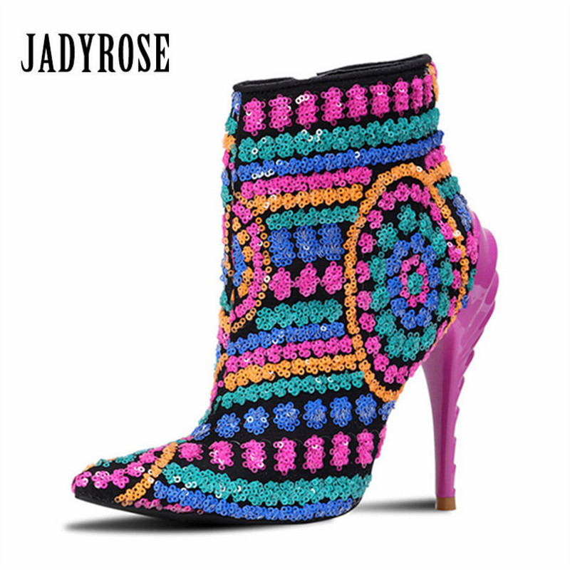 Jady Rose 2019 New Colorful Bling Paillette Ankle Boots for Women High Heels Pointed Toe Botas