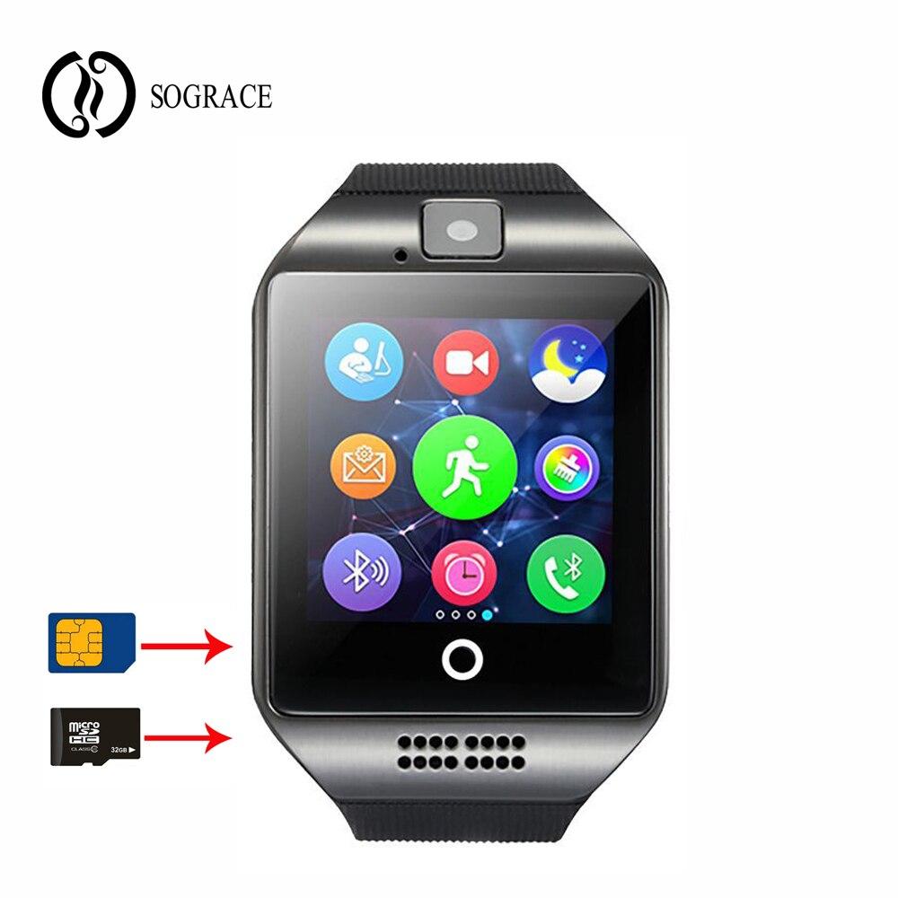 Q18 reloj Relógio Inteligente com Tela Sensível Ao Toque de Apoio TF Cartão da Câmera Sim Relógios para o Telefone Android Bluetooth Smartwatch PK Y1 DZ09