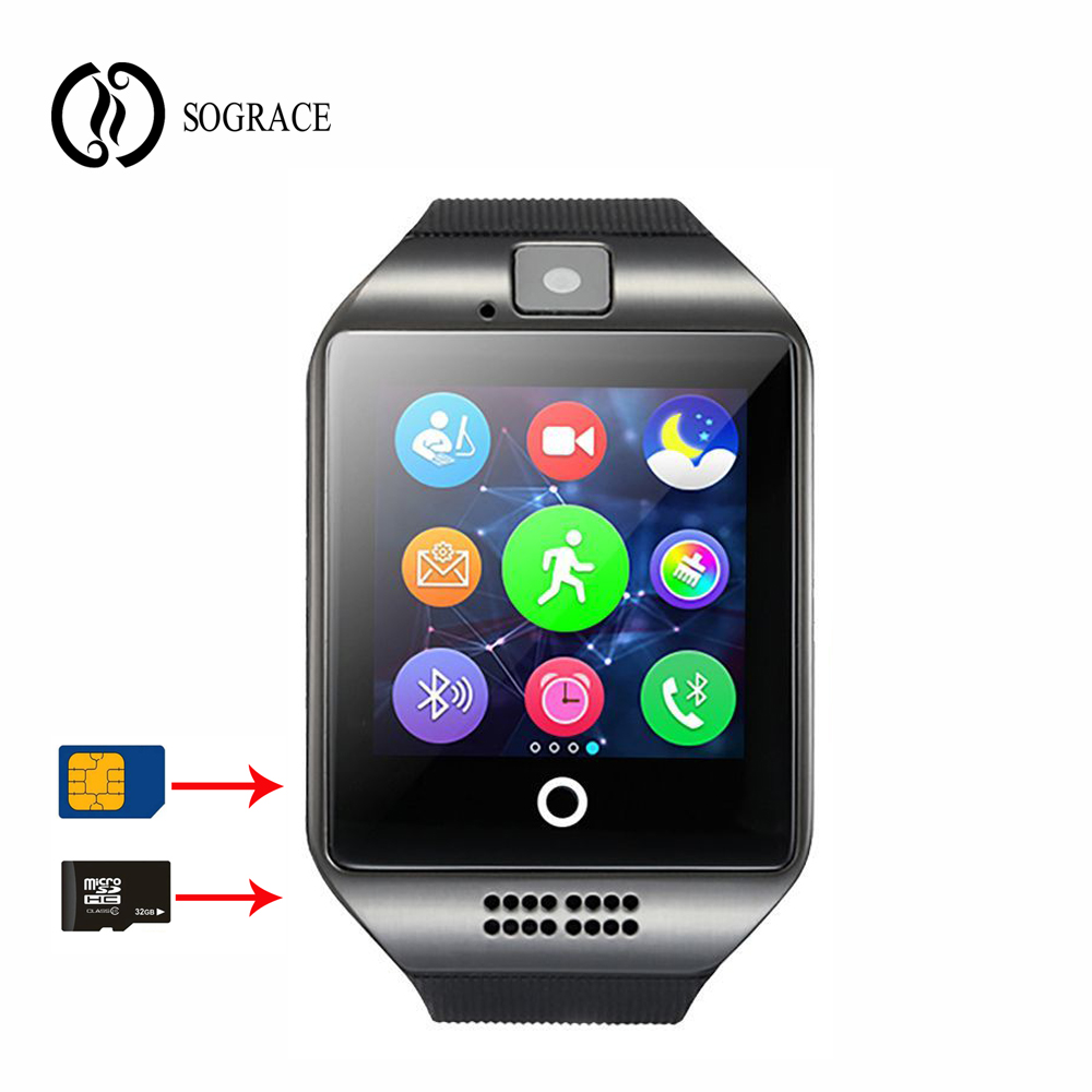 Q18 reloj Smart Watch with Touch Screen Support TF Sim Card Camera Watches for Android font