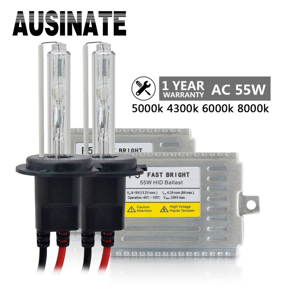 Kit HID lumineux rapide AC 55 W H7 xénon H4 H1 H3 H11 9005 9006 881 D2S 4300 k 5000 k 6000 k 8000 k ampoule au xénon source de lumière de voiture xénon H11