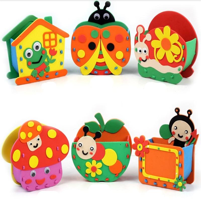 Happyxuan 4pcs lot eva cartoon pen holder handmade foam for Craft kits for preschoolers
