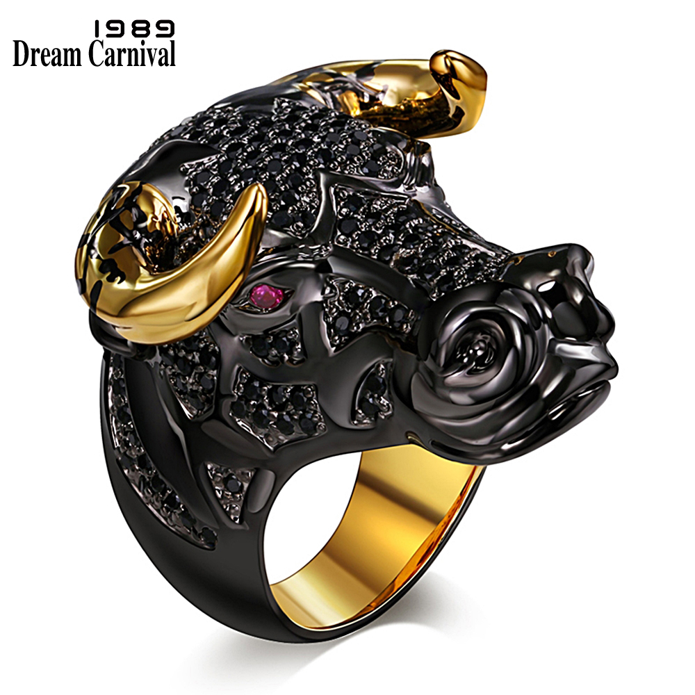 DreamCarnival 1989 Chunky Black Bull with Golden Color Horns Punk Hip Hop CZ Big Ring for Unisex Men Women Street Fashion SR2314 punk style pure color hollow out ring for women