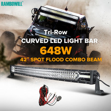 42″ 648W CREE Chips Tri-row Curved LED Light Bar Combo Beam Led Work Light Offroad Led Bar Truck SUV ATV 4×4 4WD Pickup 12V 24V