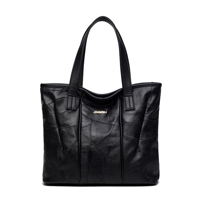 ФОТО 2016 New Women Handbag Genuine Leather Shoulder Bag Cowhide Ladies Black Casual Shopping Bag Large Capacity Tote Bolsos 1012