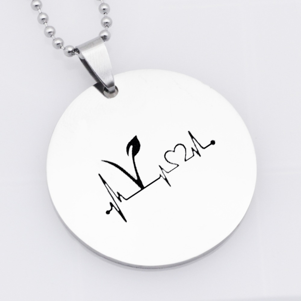 304 Stainless Steel Vegan Jewelry Vegetarian Symbol Pendant Necklace Gift Drop Shipping Accept YLQ6012