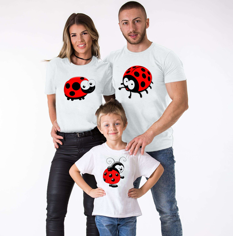 Ladybug Parent-child T-shirt Family Matching Clothes Mother And Daughter Clothes Ladybug BirthdayDress Ladybug Matching Outfits