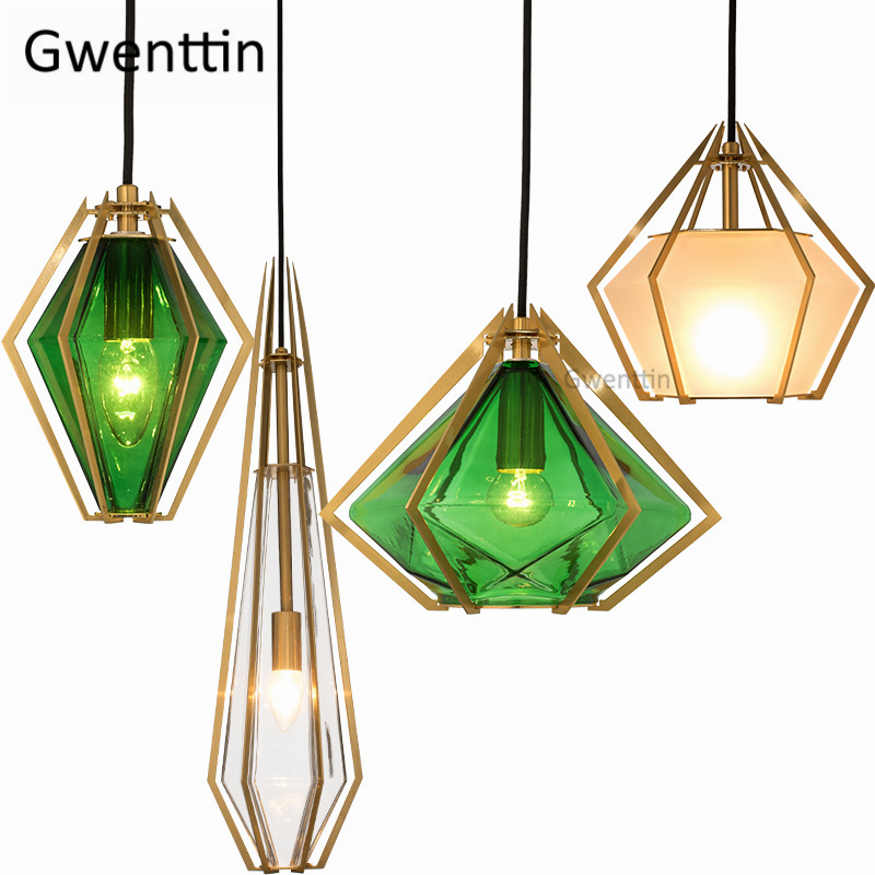 Milan Modern Diamond Gold Pendant Lights Led Glass Hanging Lamp for Living Room Bedroom Kitchen Light Fixtures Home Loft DecorMilan Modern Diamond Gold Pendant Lights Led Glass Hanging Lamp for Living Room Bedroom Kitchen Light Fixtures Home Loft Decor
