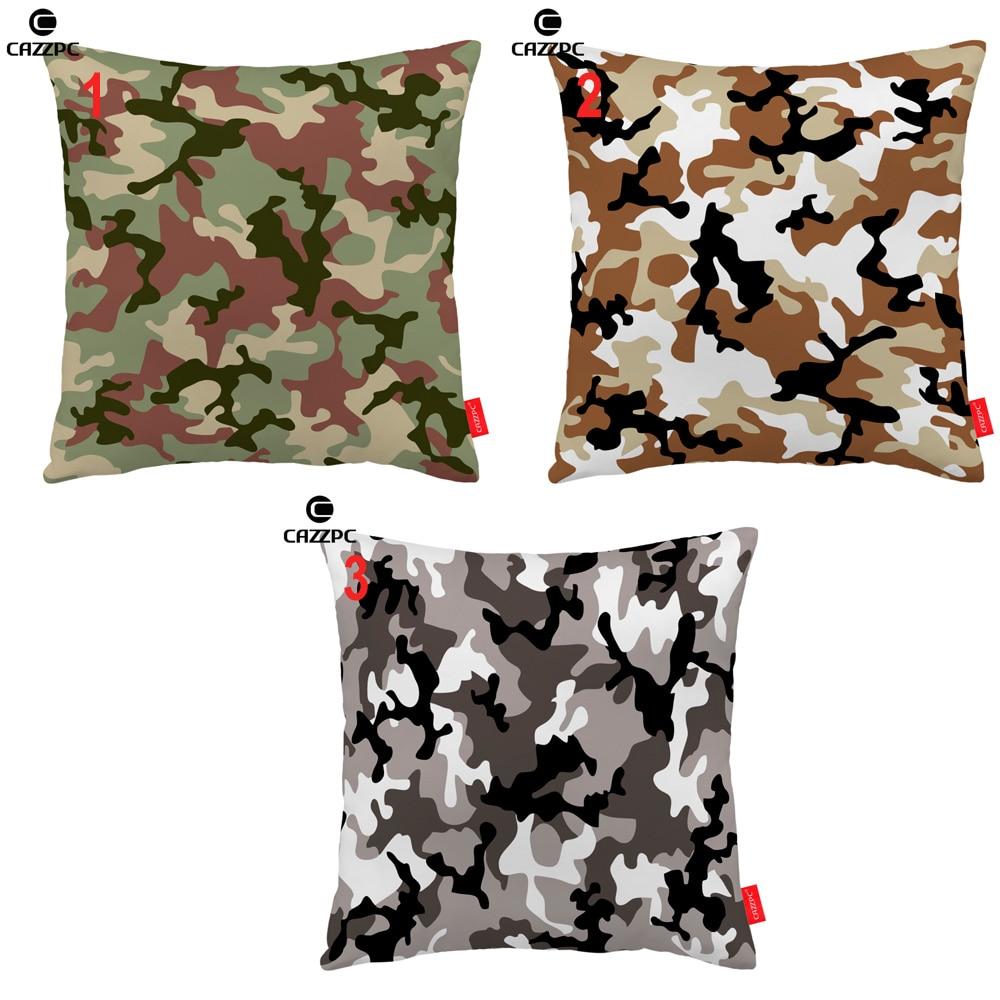 Green Brown Gray Cool Military Camouflage Print Custom Decorative Pillowcase Cushion Covers Sofa Chair Home Decor