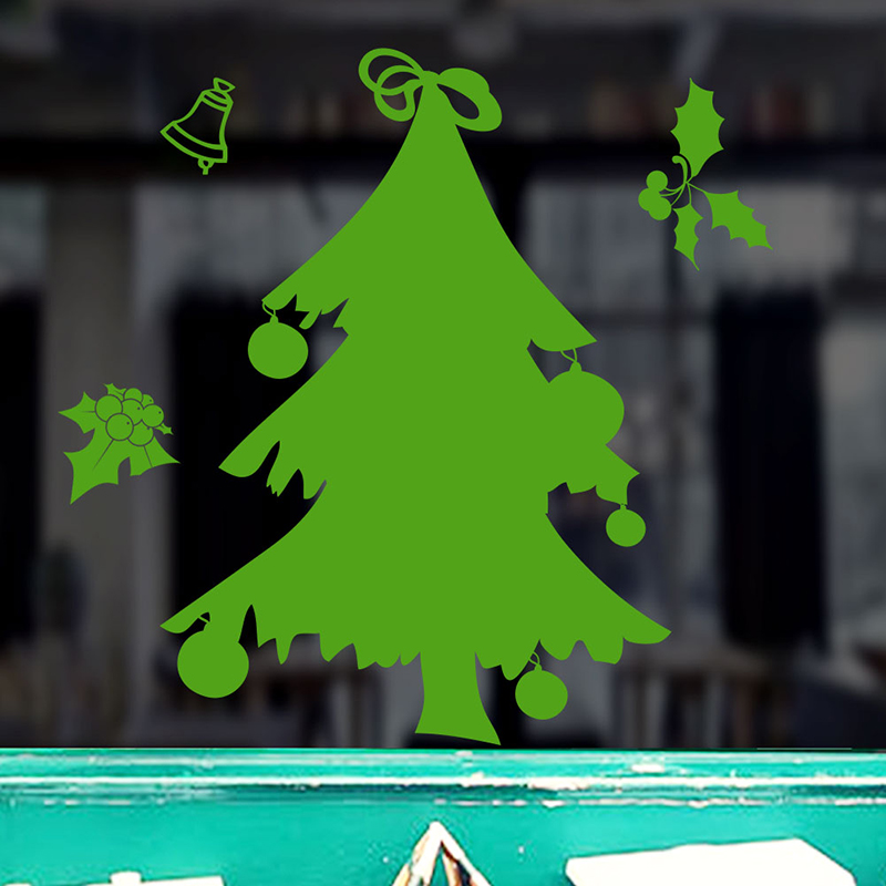 Green Christmas Tree Wall Stickers For Shop Window Glass