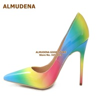 ALMUDENA New Arrival Rainbow Stripe Patent Leather Dress Pumps Pointed Toe Colorized Patchwork Wedding Thin Heels Gradient Color