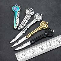 Mini clé couteau tactique Camp extérieur porte-clés anneau porte-clés pli ouvert ouvre poche auto-défense sécurité Multi outil lame boîte