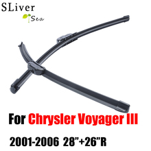 auto Car windshield wiper blades For Chrysler Voyager III 2001-2006,28+26R rubber strip,Car accessories CPU103