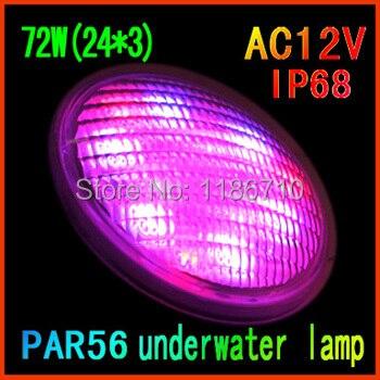 Unique Couleur IP68 LED Piscine Lumière 12 V Piscina PAR56 72 W (24*3 W) Spot lampe Extérieure Éclairage Étang lumière Livraison Gratuite