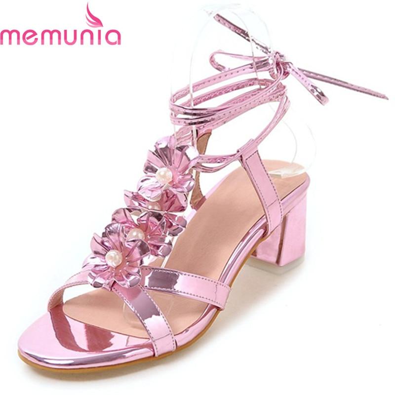 MEMUNIA hot sale lace up women pu leather high heels sandals ladies summer shoes fashion square heels Flower prom shoes pu leather panel lace up flare coat