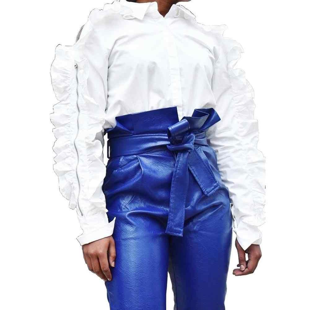 a51ddbd301b Fashion Women Solid Color Slim High Waist Bandage Faux Leather Pants  Trousers