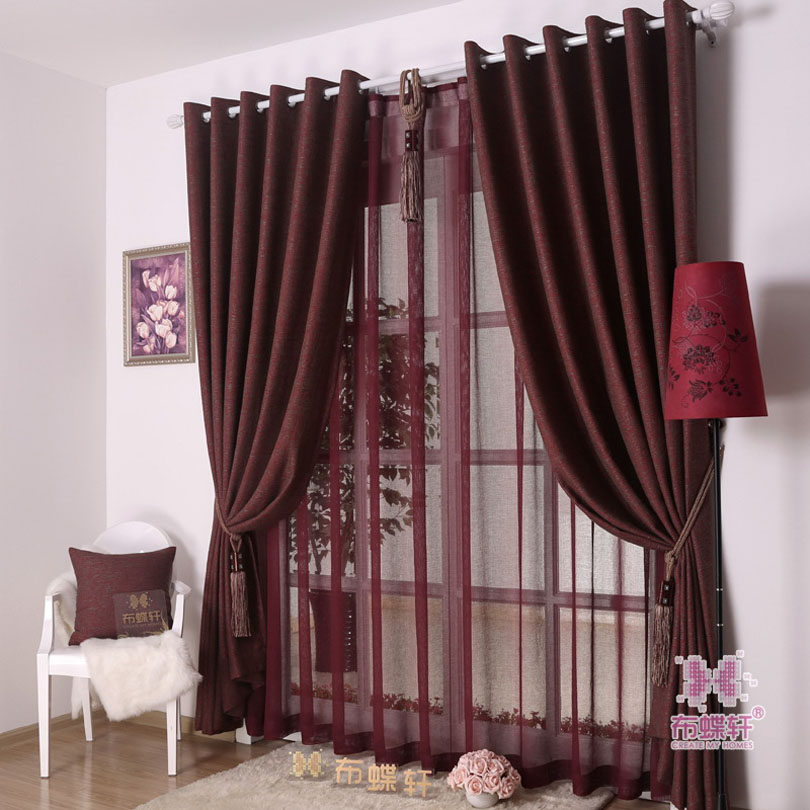 4 Colors Modern Style Solid Color Mixed Fabric Polyester And Cotton Blackout Curtain For Living Room