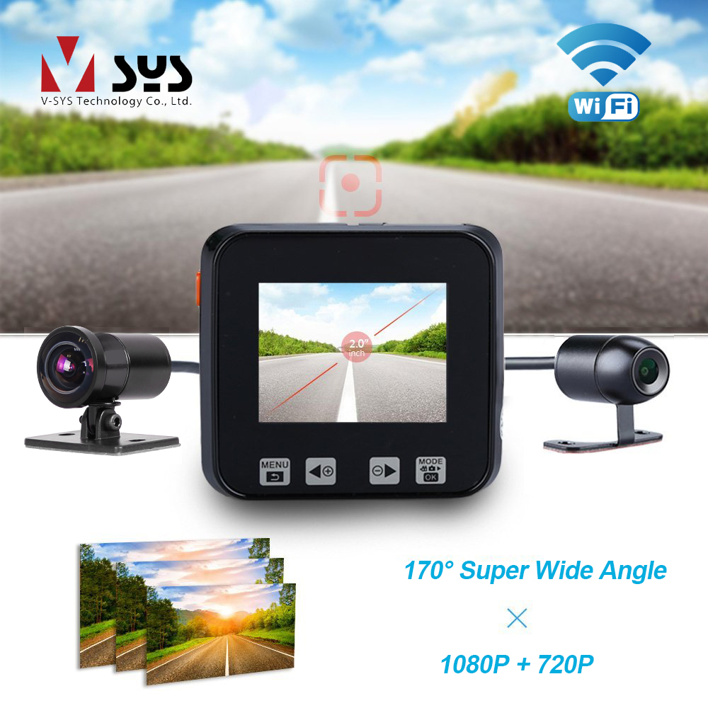 SYS M6 WiFi 170 Degree Wide Angle Dual Motorcycle Camera Recorder Dash Cam Front 1080P 720P