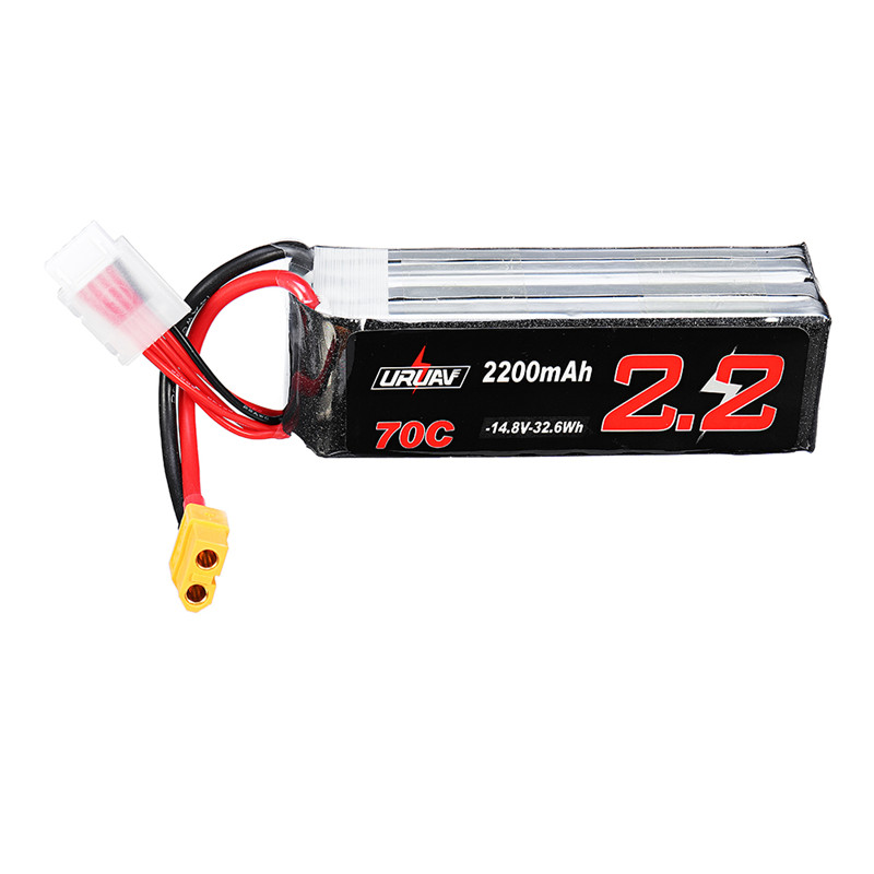 URUAV <font><b>14.8V</b></font> <font><b>2200mAh</b></font> 70C 4S Rechargeable Lipo Battery XT60 Plug for Eachine Fury Wing Airplane Feilun FT011 image
