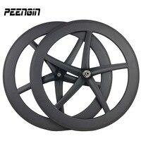 Углерода пять спиц starfish колея набор интегрированных 5 колесо со спицами carbone велосипед катки Гонки/training велосипеды триатлону